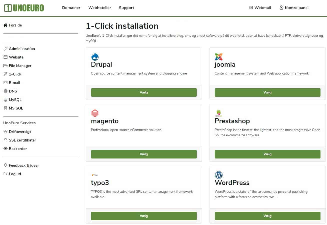lav din egen hjemmeside - 1-click install hos Unoeuro