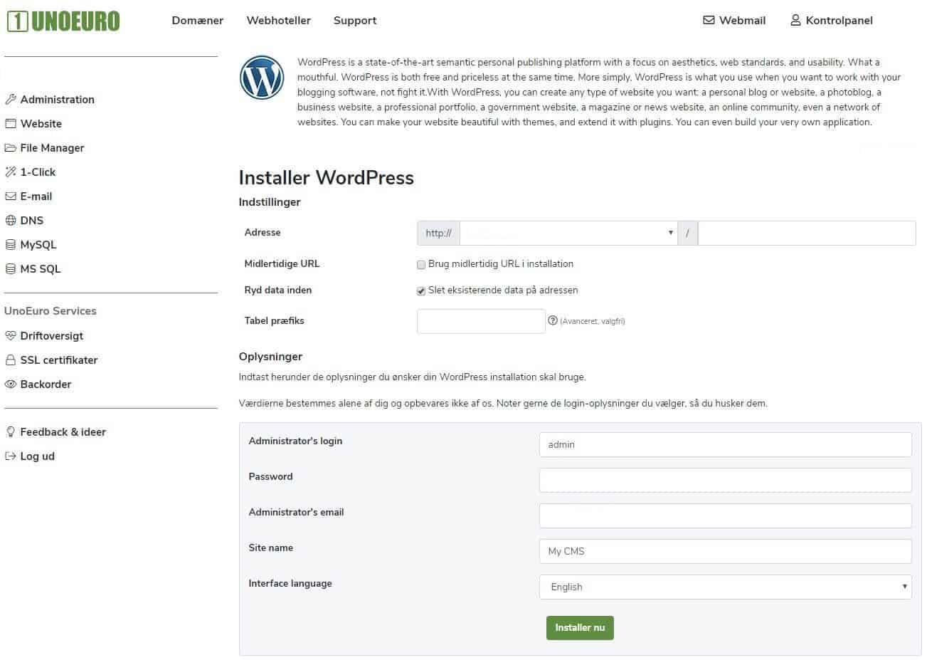 Opsætning af WordPress